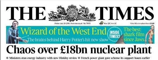 Nagłówek dzisiejszego Timesa.