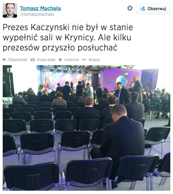 Jak widać, panel dyskusyjny z udziałem Jarosława Kaczyńskiego nie cieszył się wielkim zainteresowaniem