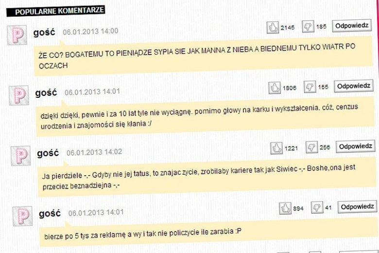 """Tak wyglądają najpopularniejsze komentarze na temat zarobków Kasi Tusk na plotkarskim portalu """"Pudelek""""."""