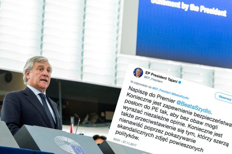 """Na katowicki """"happening"""" narodowców zareagował nawet szef Parlamentu Europejskiego Antonio Tajani."""
