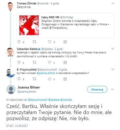 Nowa Prezes Sądu Okręgowego w Warszawie najpierw na Twitterze, potem patrząc w kamerę zaprzeczyła komunikatom resortu sprawiedliwości.