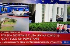 Andrzej Duda poprosił polskich i amerykańskich naukowców o zintensyfikowanie prac nad lekiem na koronawirusa. TVP zareagowała na to paskiem informacyjnym.