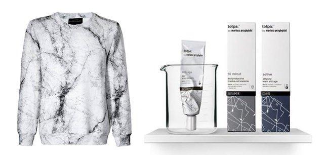 2ae217d8d6 Z lewej  bluza w marmurkowy wzór projektu Mariusza Przybylskiego. Z prawej   linia kosmetyków