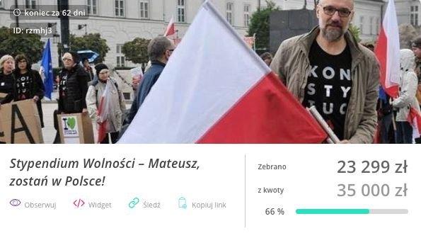 """Elżbieta Pawłowicz prowadzi zbiórkę publiczną na Mateusza Kijowskiego. Nazwała ją """"stypendium wolności""""."""