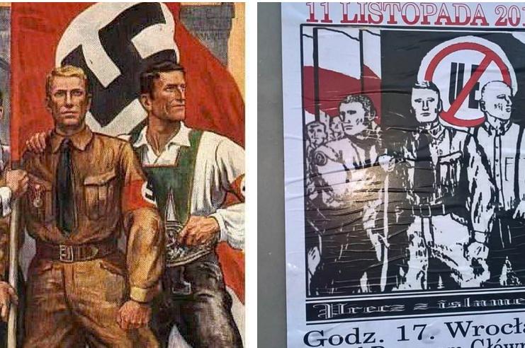 Plakat jest łudząco podobny do tego spod goebelsowskiej propagandy.