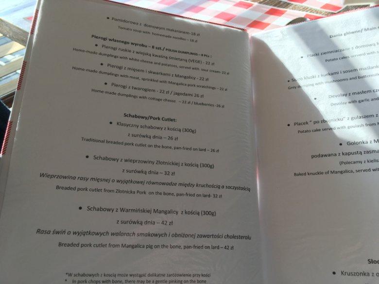 """Restauracja """"Schabowy"""" serwuje trzy różne rodzaje wieprzowiny."""
