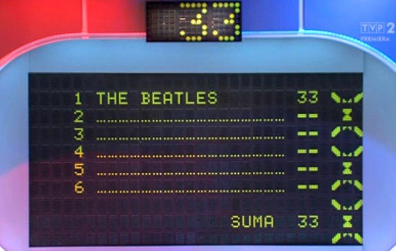"""W 2390 odcinku """"Familiady"""" padło pytanie o zespół muzyczny wszech czasów. Pierwsza odpowiedź to było The Beatles, ale potem: Abba, IRA i Kombi. Dopiero później drużyna przeciwna wymieniła The Rolling Stones i przejęła punkty."""