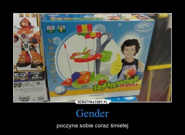 Mem świadczący o zrozumieniu podstaw gender przez internautów.