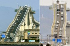Most Eshima Ohashi jest tak stromy, że przypomina kolejkę górską