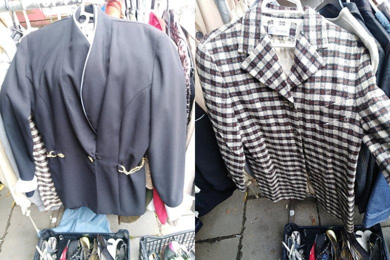 Marynarka w stylu lat 80. i  kraciasty płaszczyk w stylu lat 60.