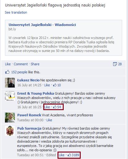 Screen shot ze strony facebookowej UJ, stan na wieczór 20/07/12.
