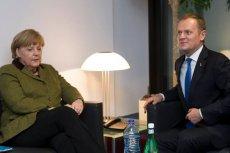 Kanclerz Niemiec Angela Merkel i premier Donald Tusk podczas szczytu w Brukseli