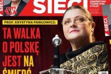 """Krystyna Pawłowicz na okładce """"Sieci""""."""