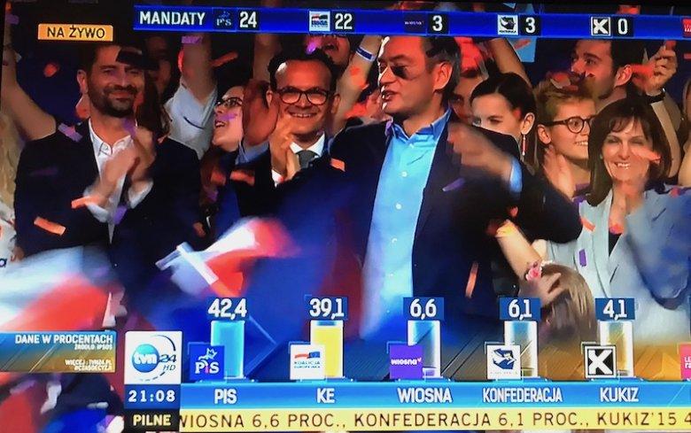 """""""Zwyciężyliśmy!"""" – krzyczał po ogłoszeniu wstępnych wyników Robert Biedroń."""
