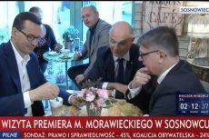 Mateusz Morawiecki wypił w Sosnowcu kawę z polskim mlekiem - donosi TVP Info.