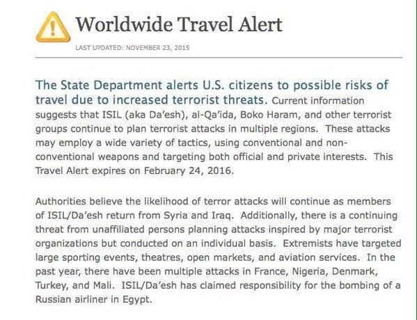 Worldwide Travel Alert wydany przez Amerykański Departament Stanu.