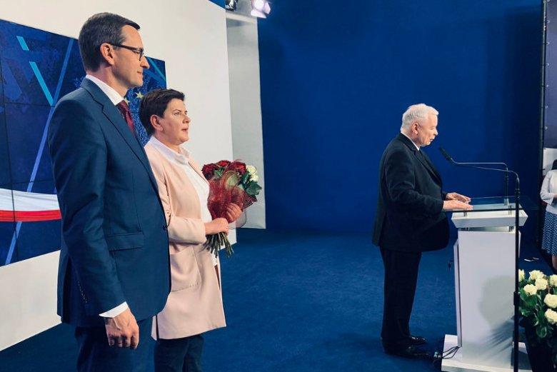 Jarosław Kaczyński, prezes PiS, po zwycięstwie w wyborach do PE