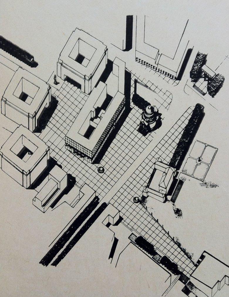 Plac Trzech Krzyży, 1949 rok. (Źródło ilustracji: Architektura Polska 1950 – 1951, Warszawa 1953, Państwowe Wydawnictwo Techniczne)