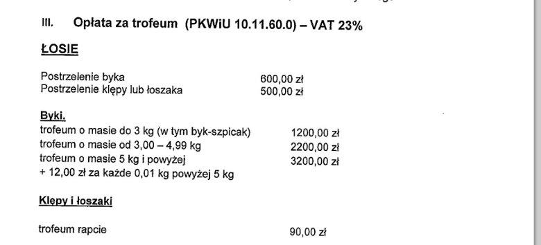 Fragment oferty łowieckiej RDLP Olsztyn.