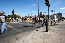 Przechodnie przy ulicy Emilii Plater byli świadkami niecodziennej sytuacji.