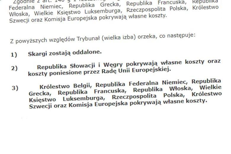 Węgry i Słowacja poniosły przed TSUE klęskę w walce przeciwko mechanizmowi relokacji migrantów. Po przegranej stronie znalazła się też wspierająca te państwa Polska.