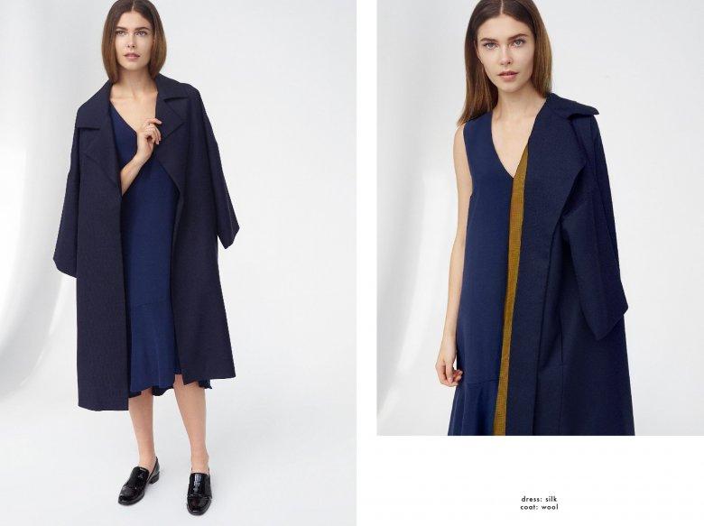 Jedwabna sukienka, wełniany płaszcz
