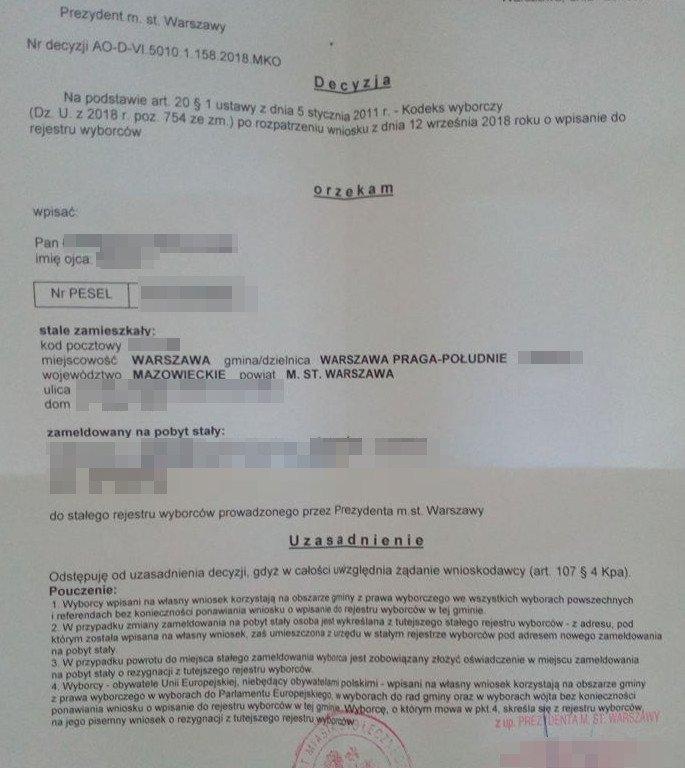 Tak wygląda decyzja o wpisaniu do stałego rejestru wyborców w Warszawie.