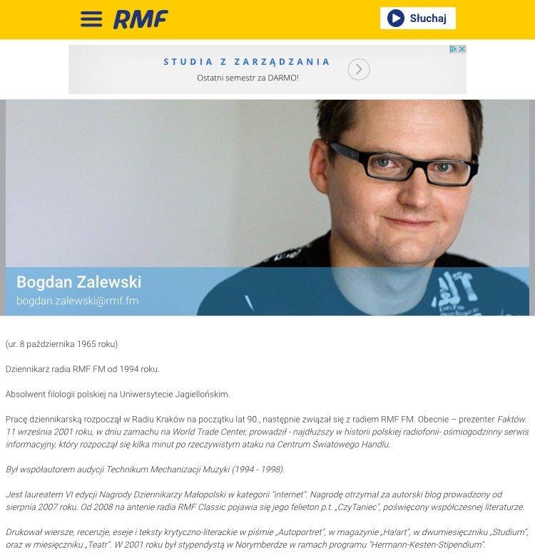 zrzut ekranu Bogdan Zalewski