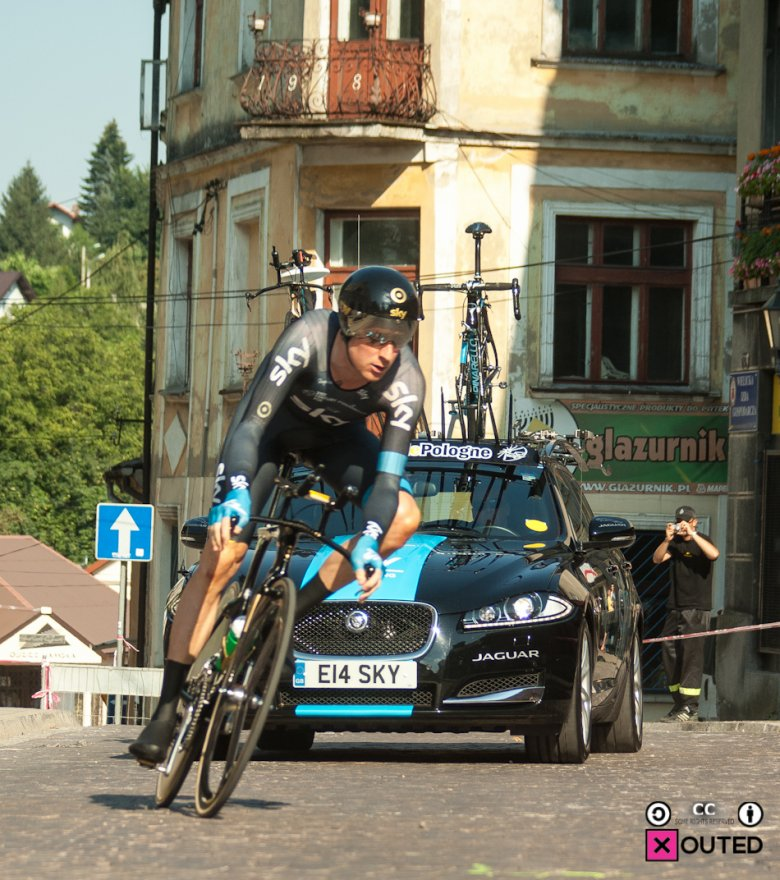 Bradley Wiggins na trasie jazdy na czas w Wieliczce