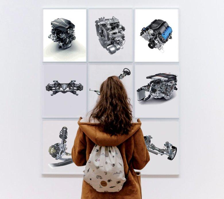 na zdjęciach od lewej: (góra) Silnik 3.0 V6 Twin-Turbo (Infiniti); Dwusprzęgłowa skrzynia biegów TCT (Alfa Romeo); Silnik 5.0 V8 (Ford Mustang Boss 302); (środek) Zawieszenie tylne (Porsche Cayenne); Układ kierowniczy (Mercedes-Benz GL); Silnik 4.0 V8 TDI