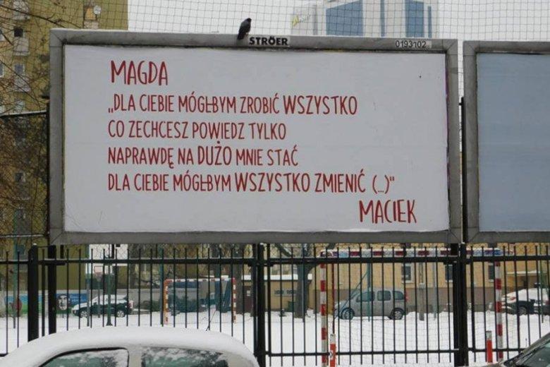 Taki billboard pojawił się na warszawskiej Ochocie