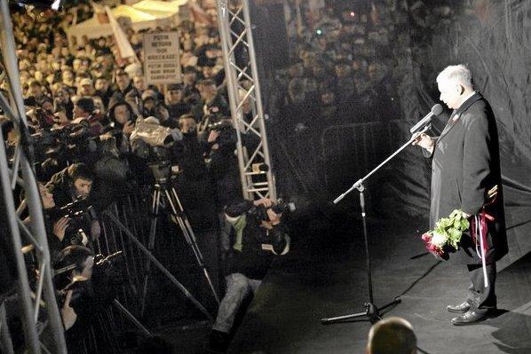 Jarosław Kaczyński na pierwszej rocznicy katastrofy smoleńskiej