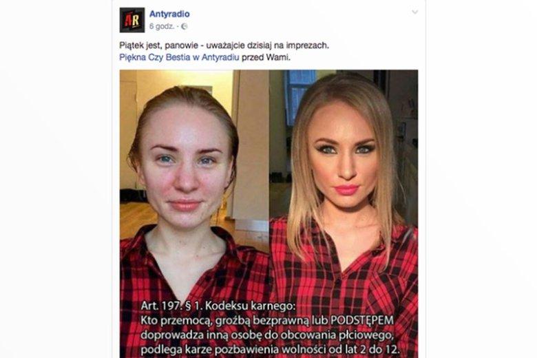 Antyradio wywołało falę oburzenia wśród swoich fanów po tym, gdy seksistowski żart dotyczący makijażu przepleciono z kpieniem z... gwałtów.