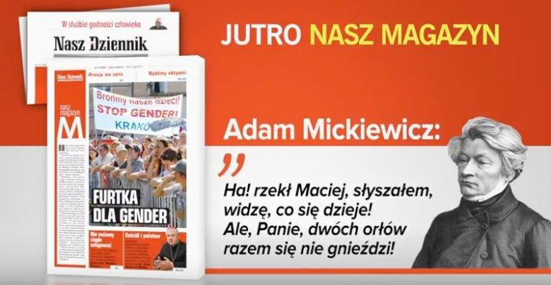 """Screen ze spotu reklamowego """"Naszego Dziennika""""; wersja zaakceptowana przez TVP"""