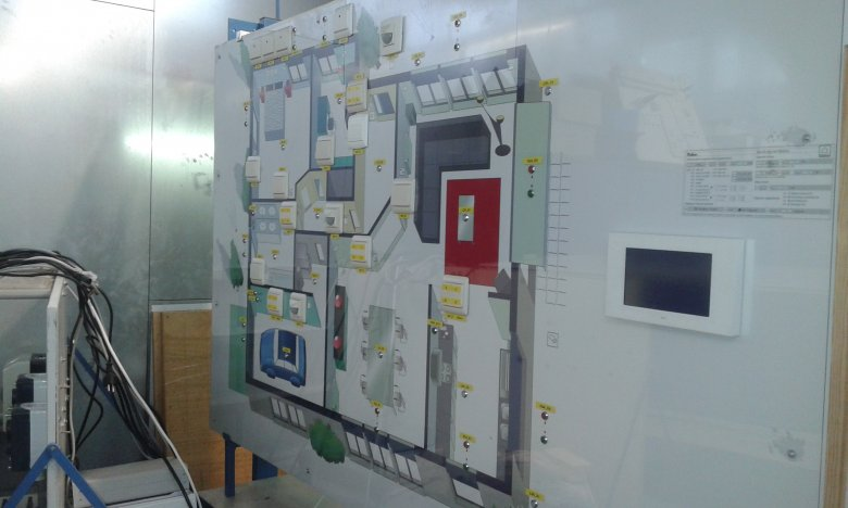 tablica do zarządzania energią elektryczną przy użyciu telefonu w holenderskiej zawodówce