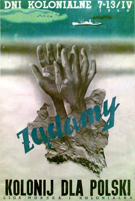 Plakat propagandowy Ligi Morskiej i Kolonialnej.