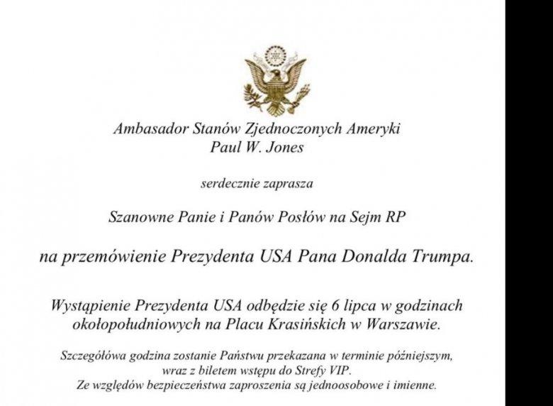 Dwie Polski I Usa Posłów Na Przemówienie Donalda Trumpa Zaprasza
