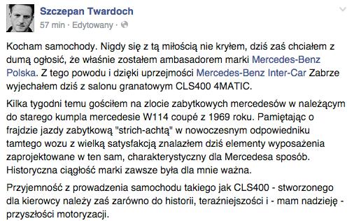 Pisarz poinformował o tym,że został ambasadorem marki Mercedes-Benz Polska na swoim profilu społecznościowym.