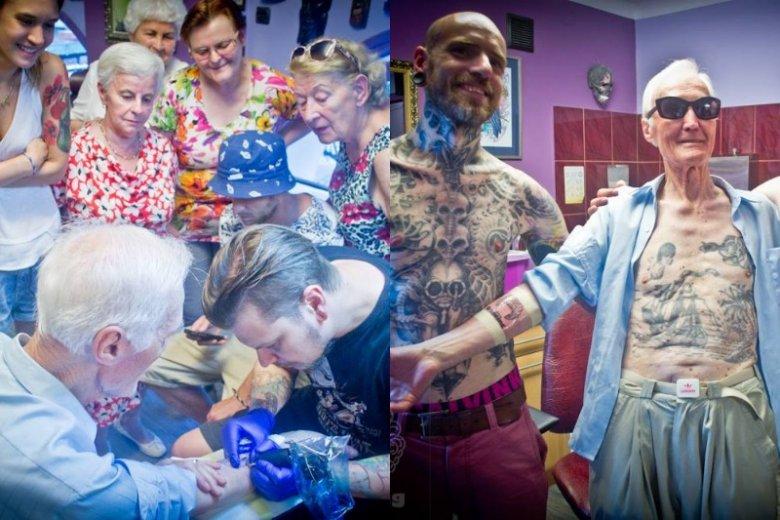 Seniorzy poslzi do studia tatuażu razem z panem Leopoldem. Z zaciekawieniem przyglądali się jak artysta wykonuje swoje dzieło
