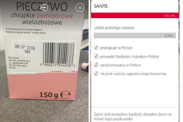 """Patrząc tylko na logo można pomyśleć, że Sante to jakaś francuska firma. A to nasz Andrzej Kowalski  - 100 procent """"made in Poland"""". Tak działa aplikacja Pola."""