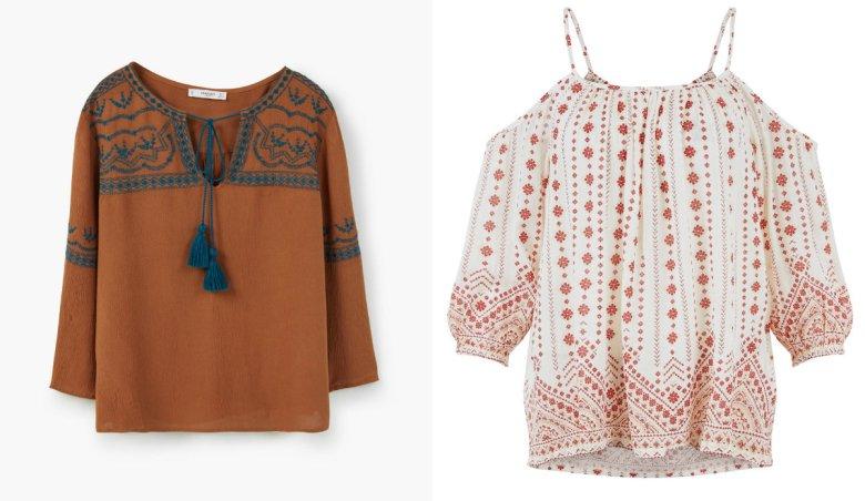 Brązowa koszula Mango - 59,90 zł (przeceniona 40%), biała koszula we wzorki - New Look - około 90 zł
