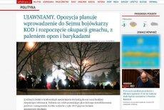 Na portalu braci Karnowskich anonimowy autor ostrzega przed zbrojnym atakiem na Sejm.