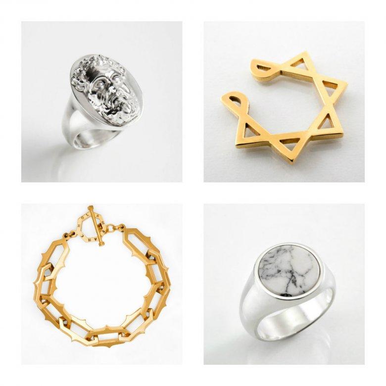 Pierścienie, złota bransoleta i nausznica w formie siedmioramiennej gwiazdy - projekty marki Melancholia
