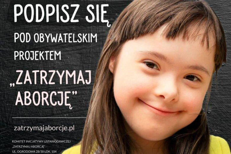 """Plakat obywatelskiego projektu """"Zatrzymaj aborcję"""""""