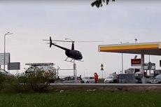 Do sieci trafiło nietypowe nagranie z lądowaniem helikoptera na stacji paliw