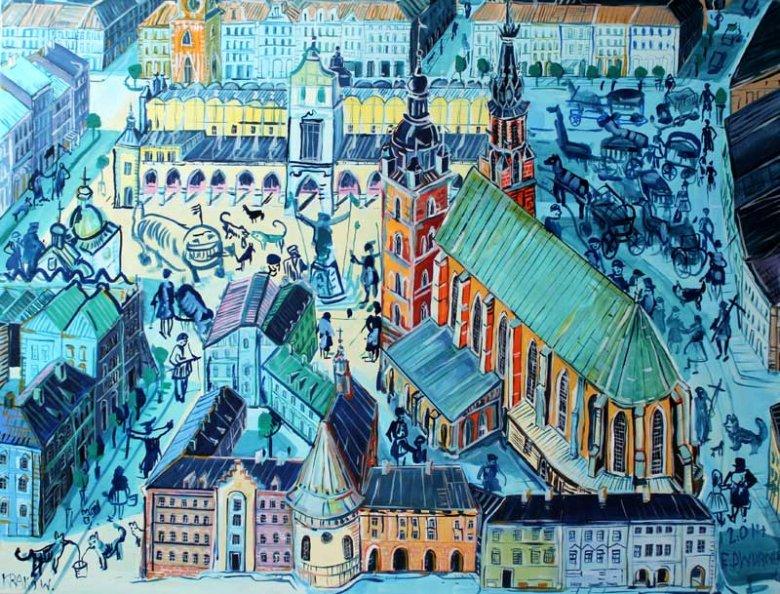 Edward Dwurnik, Kraków,  olej na płótnie, kolekcja Galerii Sztuki Katarzyny Napiórkowskiej