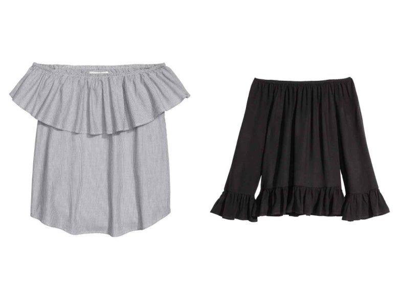 Falbanka u góry czy u dołu? Czarna bluzka - H&M 59,90 zł, szara bluzka w drobne prążki - H&M 59,90 zł