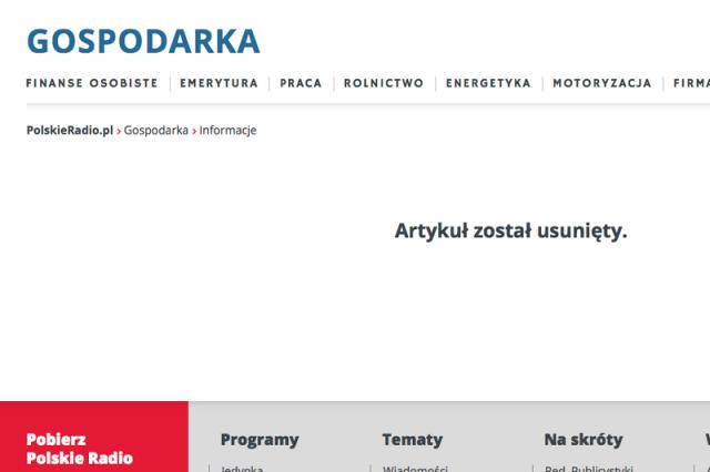 Artykuł o SKOK-ach został usunięty ze strony Polskiego Radia