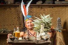 Szaman w tradycyjnym stroju przed seansem ayahuasci.