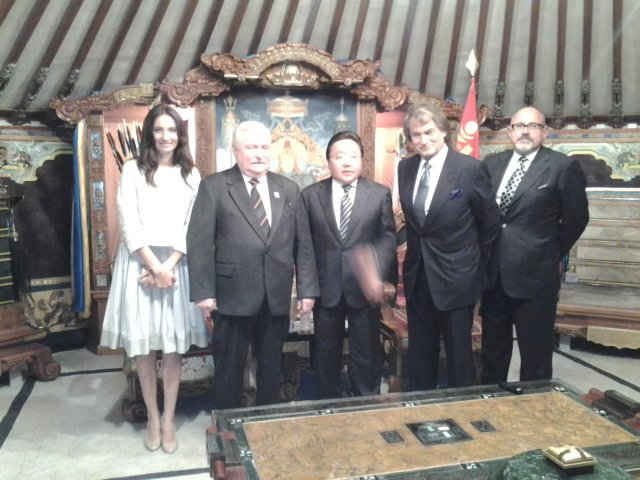 Lech Wałesa, Jan Kulczyk oraz prezydent Mongolii Elbegdordż